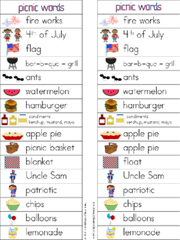 July Writing Center Tools: Picnic and Patriotic Words