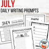 July Writing Prompts Summer School NO PREP Daily Journal