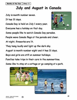July and August in Canada Reading Lesson Gr. 1-2