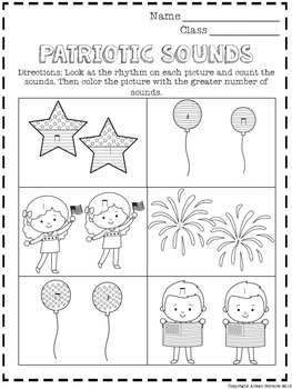 No Prep Music Patriotic Worksheet Sampler