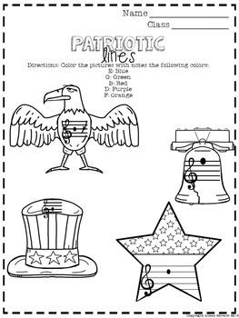 No Prep Music Patriotic Worksheet Sampler
