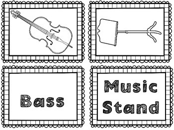 String Instrument Flash Cards & Matching Game