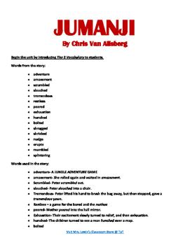 Jumanji Lesson Plan