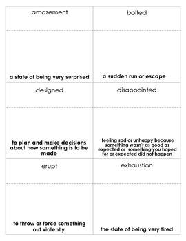 Jumanji Vocabulary bingo