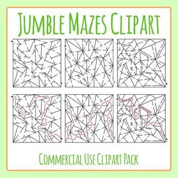 Jumble Mazes with Solutions Clip Art Set for Commercial Use