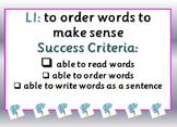 Jumbled Sentences - Teacher Modelling & Independent Cut &