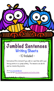 Jumbled Sentences Writing Cards