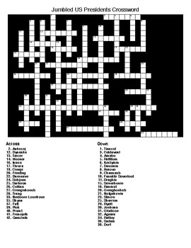 Jumbled US Presidents Word Search & Crossword Puzzle