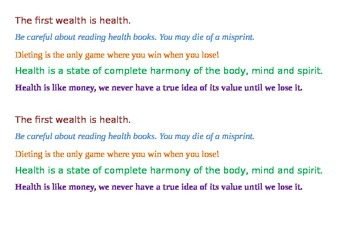 Jumbled quotes about health