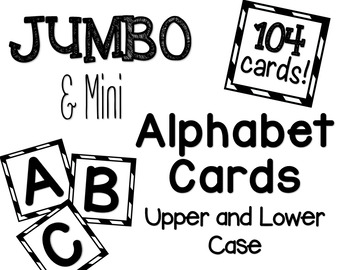 Jumbo Alphabet Flash Cards High Contrast Black and White