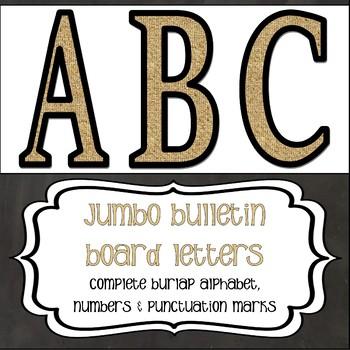 Jumbo Bulletin Board Letters - Burlap
