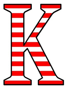 Jumbo Bulletin Board Letters - Red and White Stripes