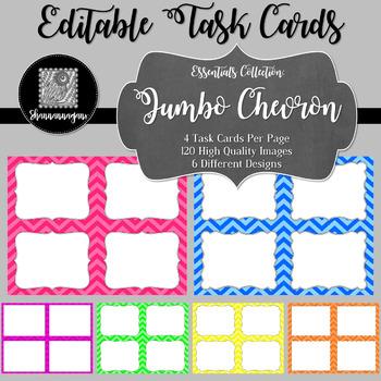 Blank Task Cards-Basics: Jumbo Chevron (300dpi) with Edita