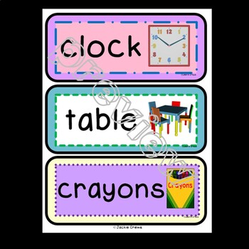 93 Jumbo Classroom Labels with Pictures for Year-Round Practice