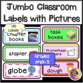 108 Jumbo Classroom Labels with Pictures for Year-Round Practice!