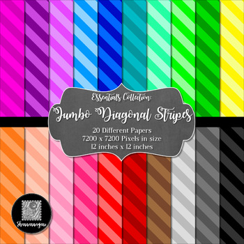 Jumbo Diagonal Stripes 12x12 Digital Paper (Basic Colors)