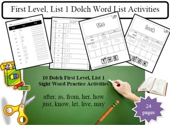 Jumbo First Level/Grade 1 dolch 50 word list packets, practice activity