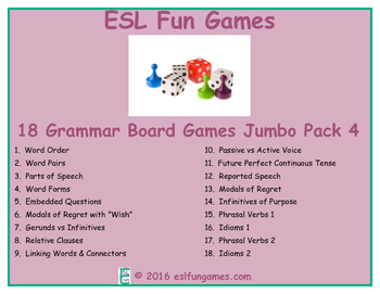 Jumbo Grammar Board Games Pack 4 Game Bundle