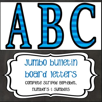 Jumbo Letters - Blue on Blue Stripes