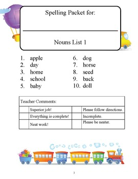 Jumbo Nouns dolch word list packets, all 95 nouns practice activity