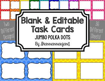 Jumbo Polka Dot Blank Task Cards (Basic Colors)
