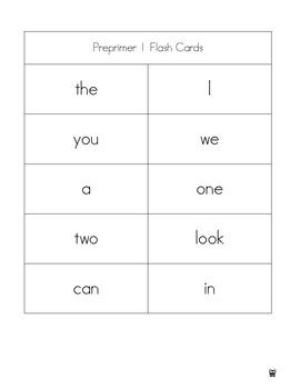 Jumbo Preprimer dolch word list packets, all 50 preprimer practice activity
