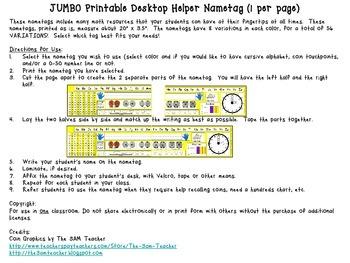 Jumbo Printable Desktop Helper Nametags - 56 VARIATIONS