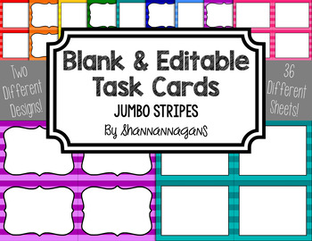 Blank Task Cards - Basics: Jumbo Stripes | Editable PowerPoint