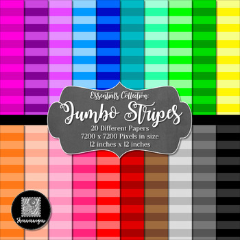 Jumbo Stripes 12x12 Digital Paper (Basic Colors) - Commerc
