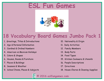 Jumbo Vocabulary Board Game Pack 1 Game Bundle