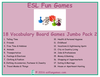 Jumbo Vocabulary Board Game Pack 2 Game Bundle