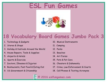Jumbo Vocabulary Board Game Pack 3 Game Bundle