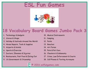 Jumbo Vocabulary Board Game Pack 3 Game Bundle