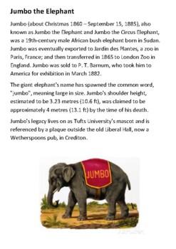 Jumbo the elephant Handout with activities