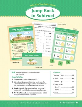 Jump Back to Subtract (Take It to Your Seat Centers Common Core Math)