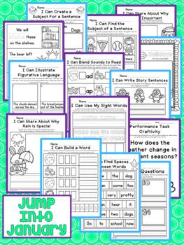 Jump Into January Kindergarten NO PREP Supplemental Printables