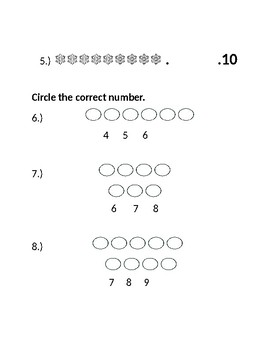 Jump Math Kindergarten Unit 4 Test
