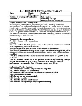 Jump Math Unit Plan- Unit 4- Counting and Cardinality- Numbers 6-10