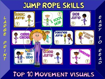 Jump Rope Skills- Top 10 Movement Visuals- Simple Large Print Design