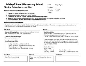 Jump Rope Unit Plan K-5th Grades