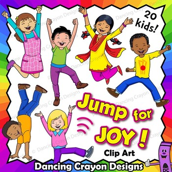 Jump for Joy - Happy Kids   Clip Art Kids
