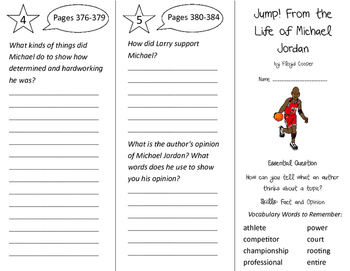 Jump! from the Life of Michael Jordan Trifold - Journeys 3rd Grade Unit 3 Wk 1