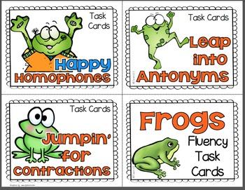 Grammar Antonyms Homophones Contractions Fluency Task Cards
