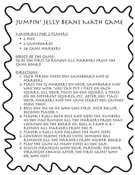 Jumpin' Jelly Beans - A Math Strategy and Basic Addition Game