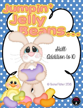 Jumpin Jelly Beans Addition to 10 Clip Cards Easter Kindergarten First Grade