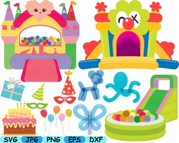 Jumping Castle Balloons SVG bounce house clip art animals party parks kids -156s