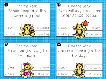 Jumping Jaguar Verb Practice with Task and Clip Cards!