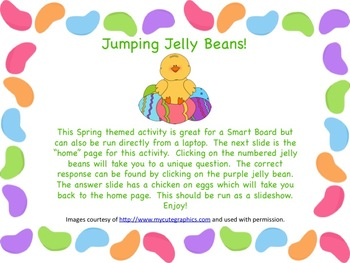 Jumping Jelly Beans Spring Review PPT or SmartBoard