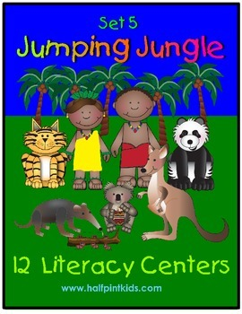Jumping Jungle Literacy Centers: Half-Pint Readers Set 5