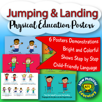 Jumping and Landing Patterns Dual Language Physical Education Posters